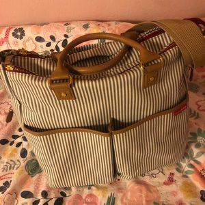 Skip hop french stripe signature duo diaper bag.